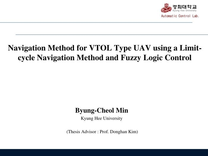 Navigation method for vtol type uav using a limit cycle navigation method and fuzzy logic control