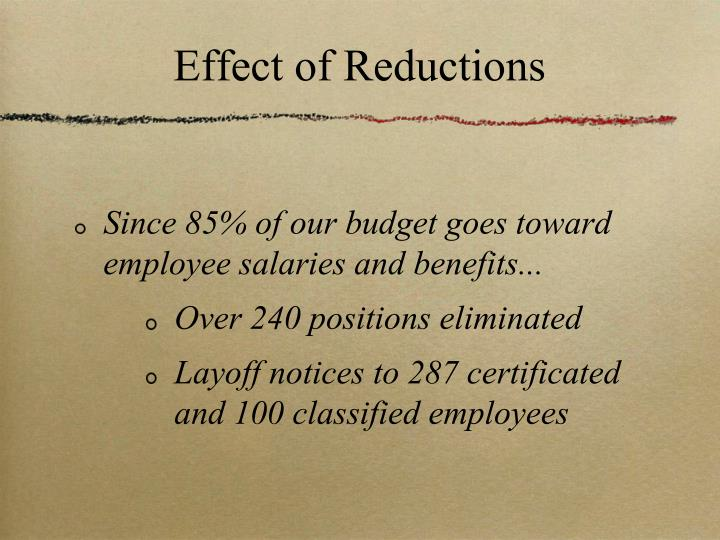 Effect of Reductions