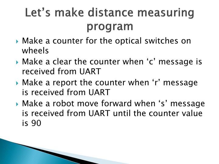 Let's make distance measuring program