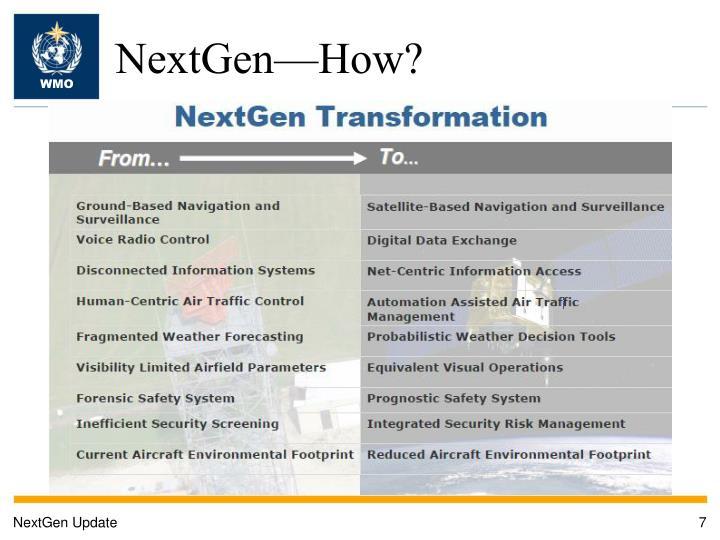 NextGen—How?