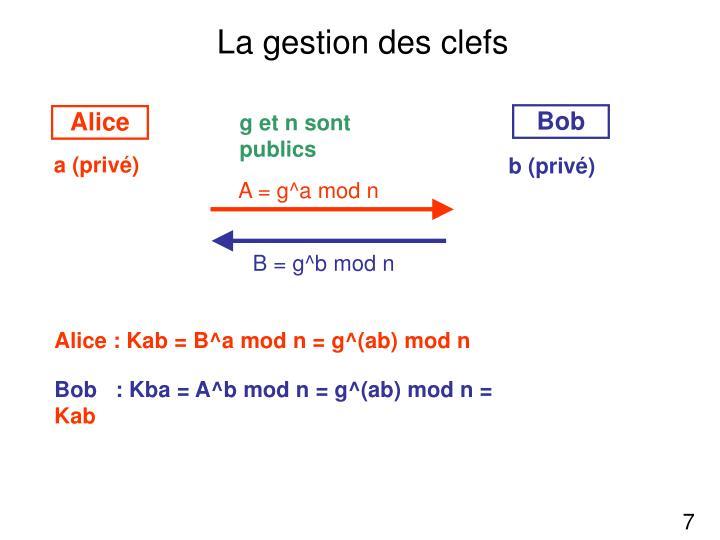 A = g^a mod n