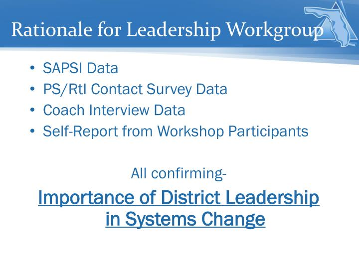Rationale for Leadership Workgroup