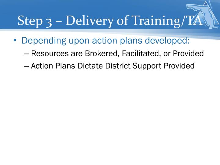 Step 3 – Delivery of Training/TA