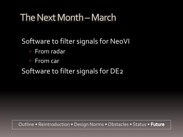 The Next Month – March