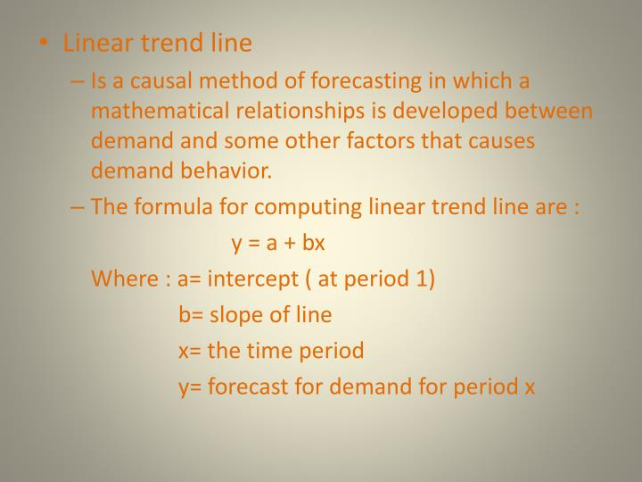 Linear trend line
