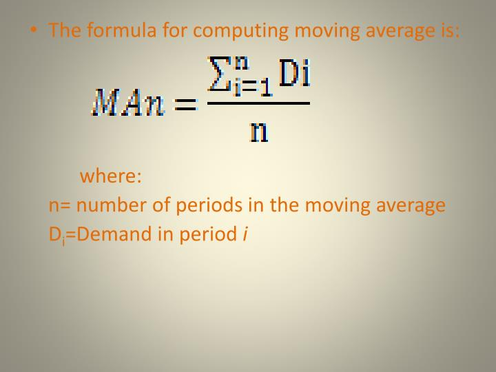 The formula for computing moving average is: