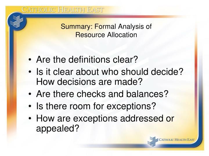 Summary: Formal Analysis of