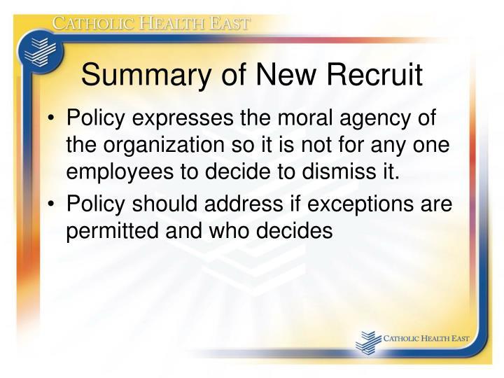 Summary of New Recruit