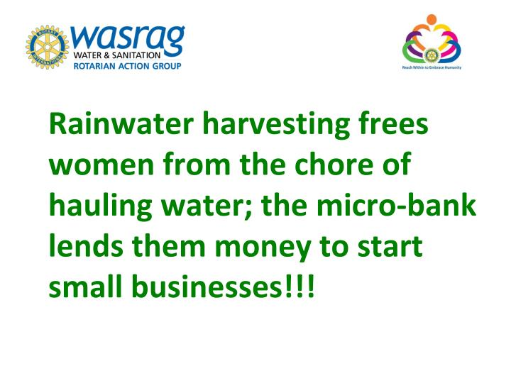 Rainwater harvesting frees