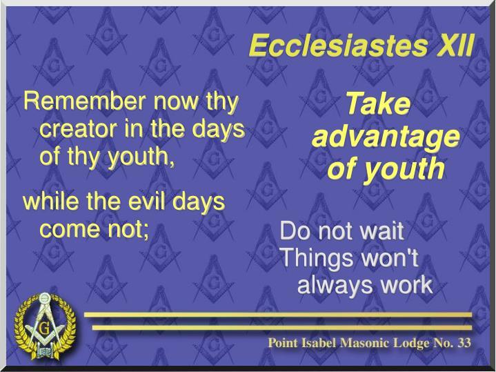 Take advantage of youth