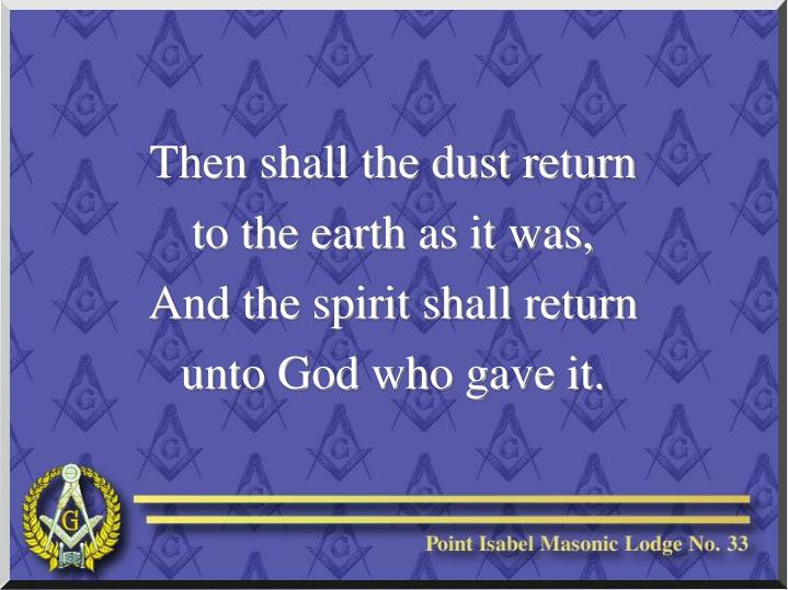 Then shall the dust return