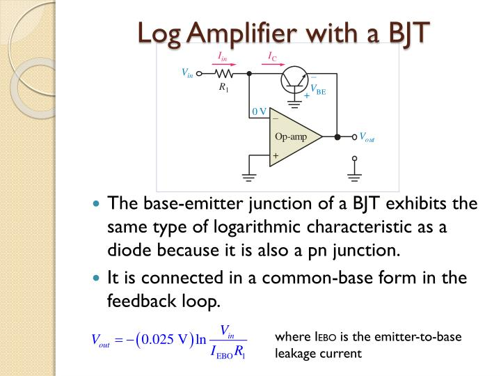 Log Amplifier with a BJT