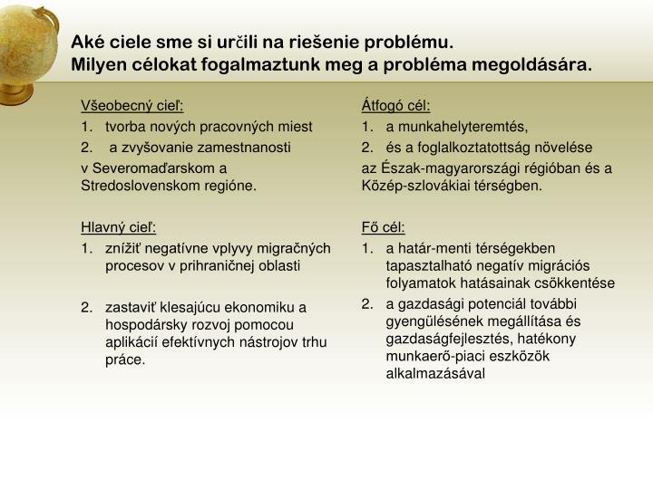 Aké ciele sme si určili na riešenie problému.