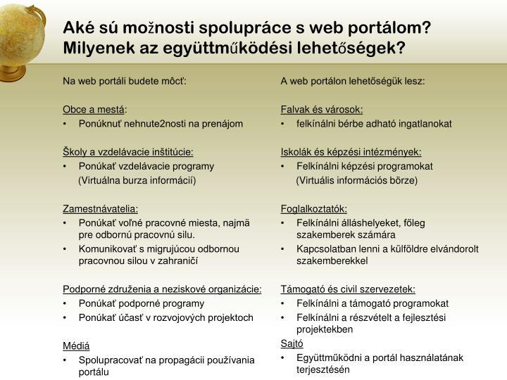 Aké sú možnosti spolupráce s web portálom?