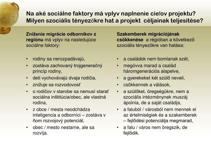 Na aké sociálne faktory má vplyv naplnenie cieľov projektu?