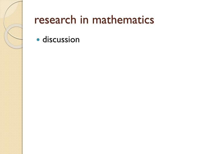 research in mathematics