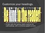 customize your headings