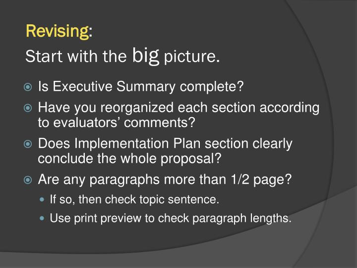 Revising start with the big picture