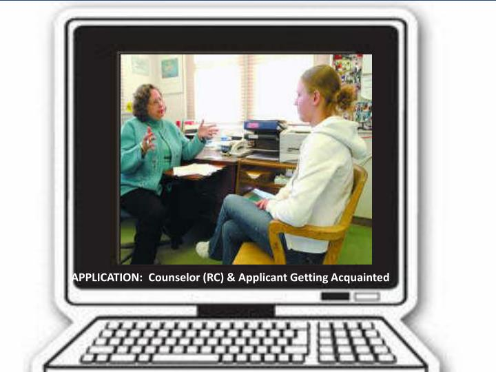 APPLICATION:  Counselor (RC) & Applicant Getting Acquainted