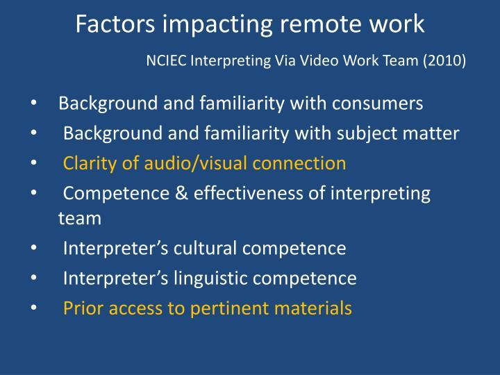 Factors impacting remote work
