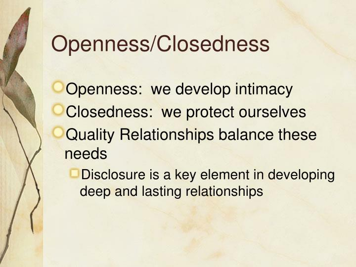 Openness/Closedness