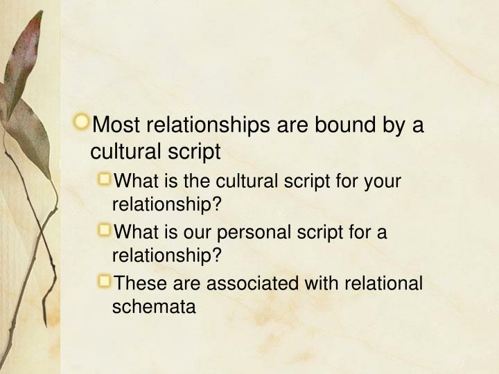 Most relationships are bound by a cultural script