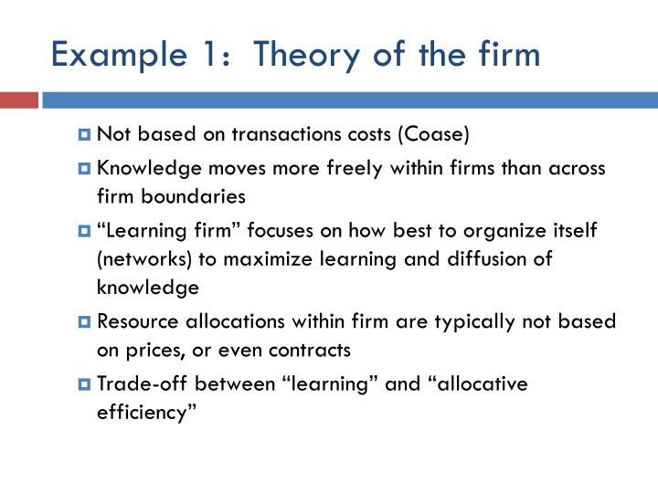 Example 1:  Theory of the firm
