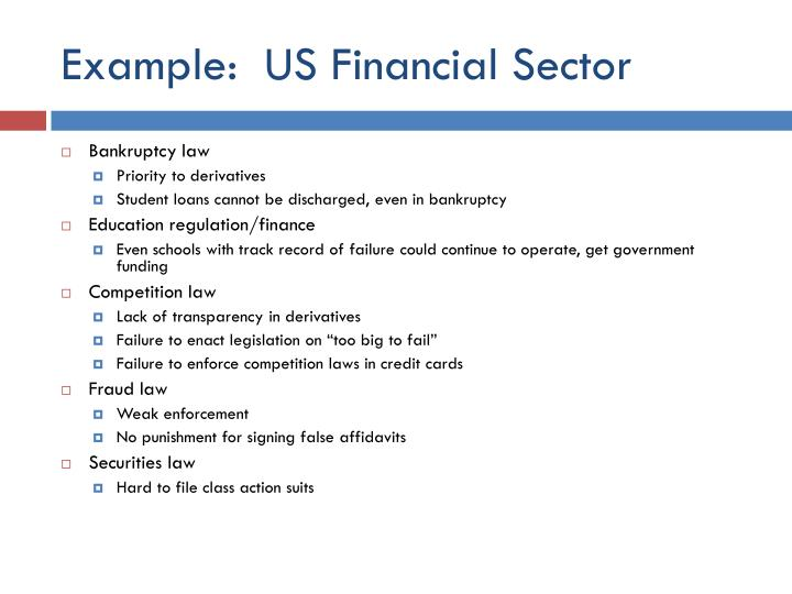 Example:  US Financial Sector