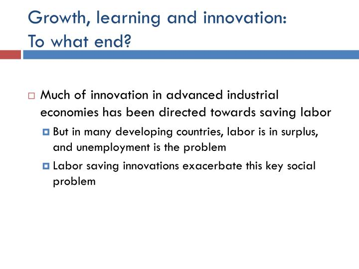Growth, learning and innovation: