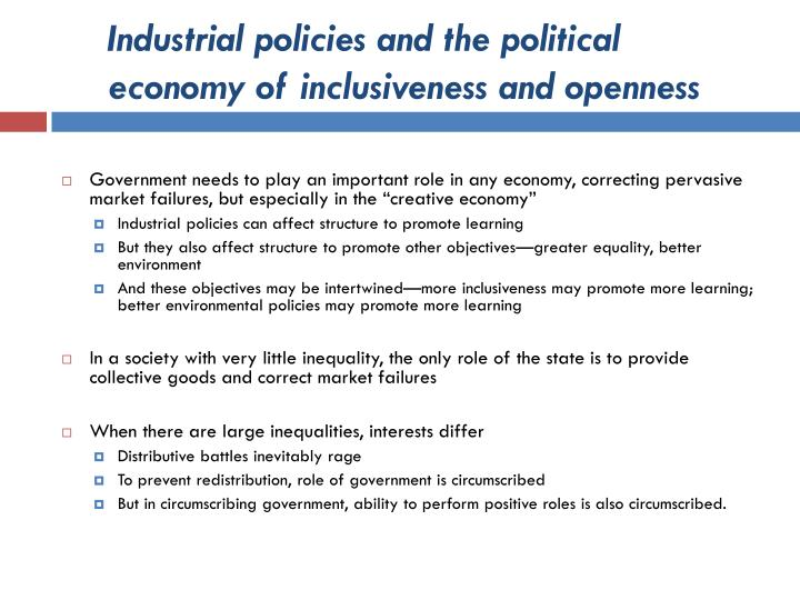Industrial policies and the political economy of inclusiveness and openness