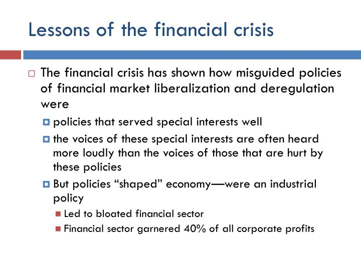 Lessons of the financial crisis