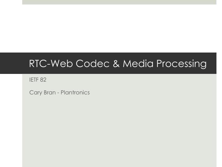 Rtc web codec media processing
