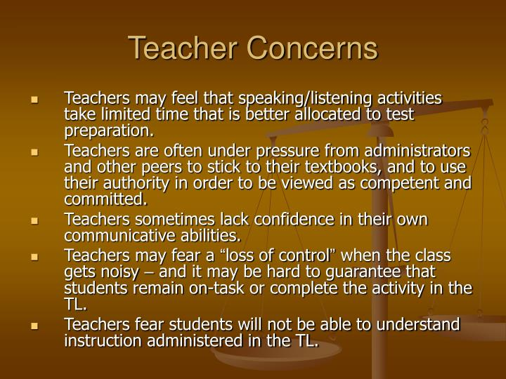 Teacher Concerns
