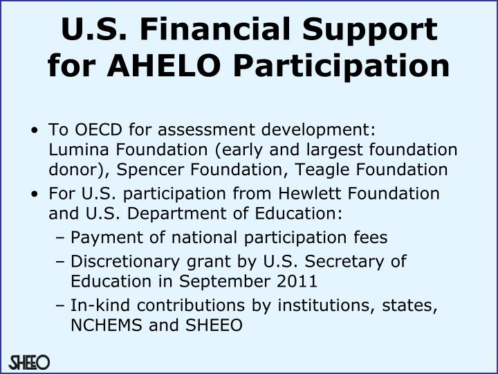 U.S. Financial Support