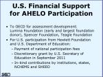 u s financial support for ahelo participation