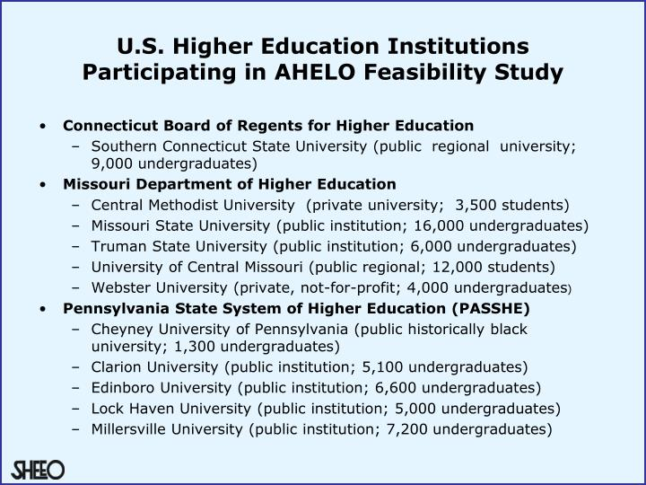 U.S. Higher Education Institutions Participating in AHELO Feasibility Study