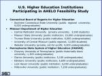 u s higher education institutions participating in ahelo feasibility study