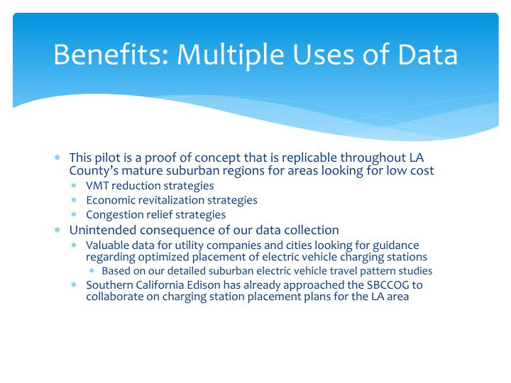 Benefits: Multiple Uses of Data