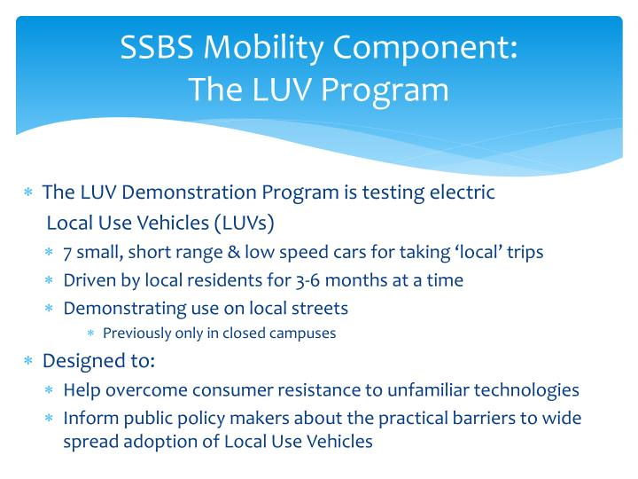 SSBS Mobility Component: