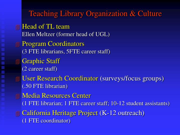 Teaching Library Organization & Culture