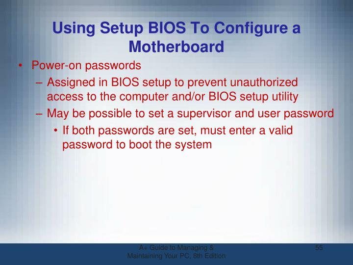 Using Setup BIOS To Configure a Motherboard