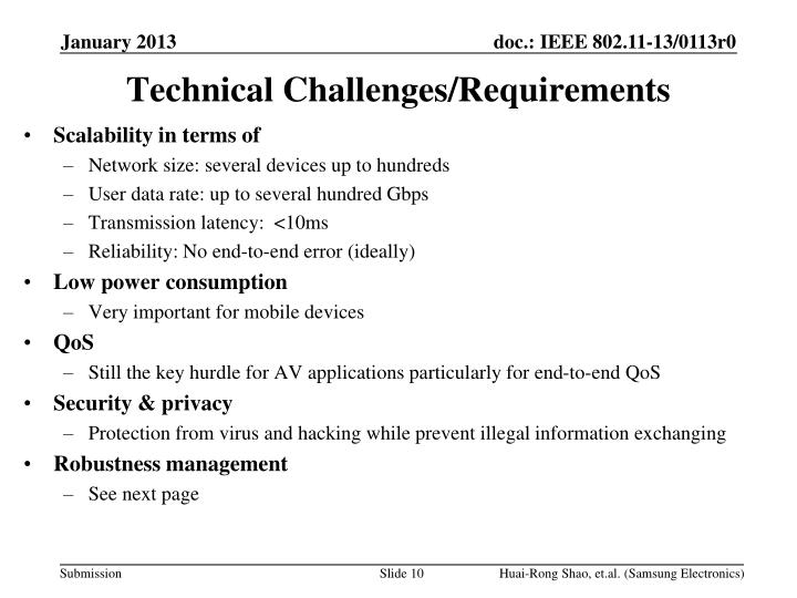 Technical Challenges/Requirements