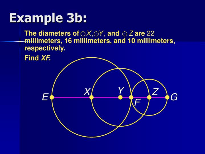 The diameters of               and        are