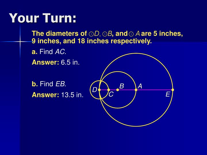 The diameters of             , and       are 5 inches,