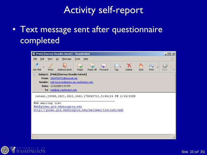 Activity self-report