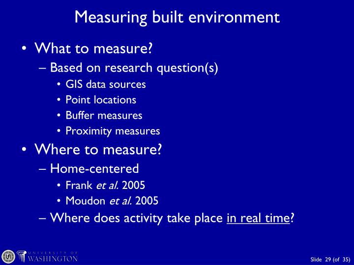 Measuring built environment