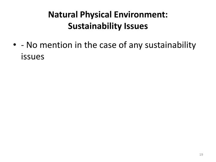 Natural Physical Environment: