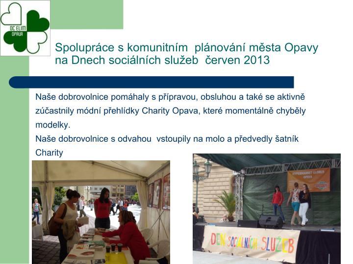 Spolupráce s komunitním  plánování města Opavy na Dnech sociálních služeb  červen 2013
