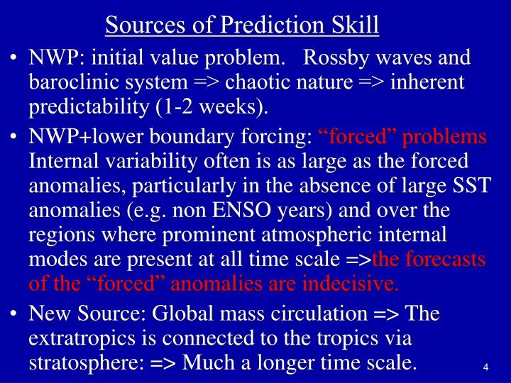 Sources of Prediction Skill