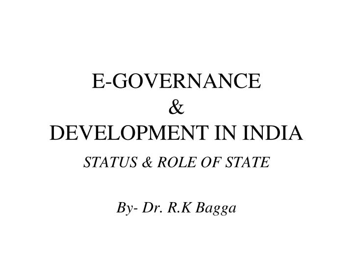 E governance development in india